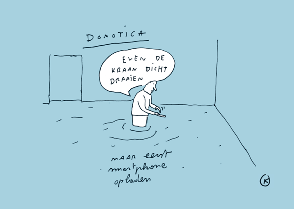 Cartoon Kamagurka voor Vlakwa over water