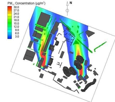 VITO - PM10 concentration map for an industrial terrain showing the PM10 hotspots, and direction and dispersion area of the plumes
