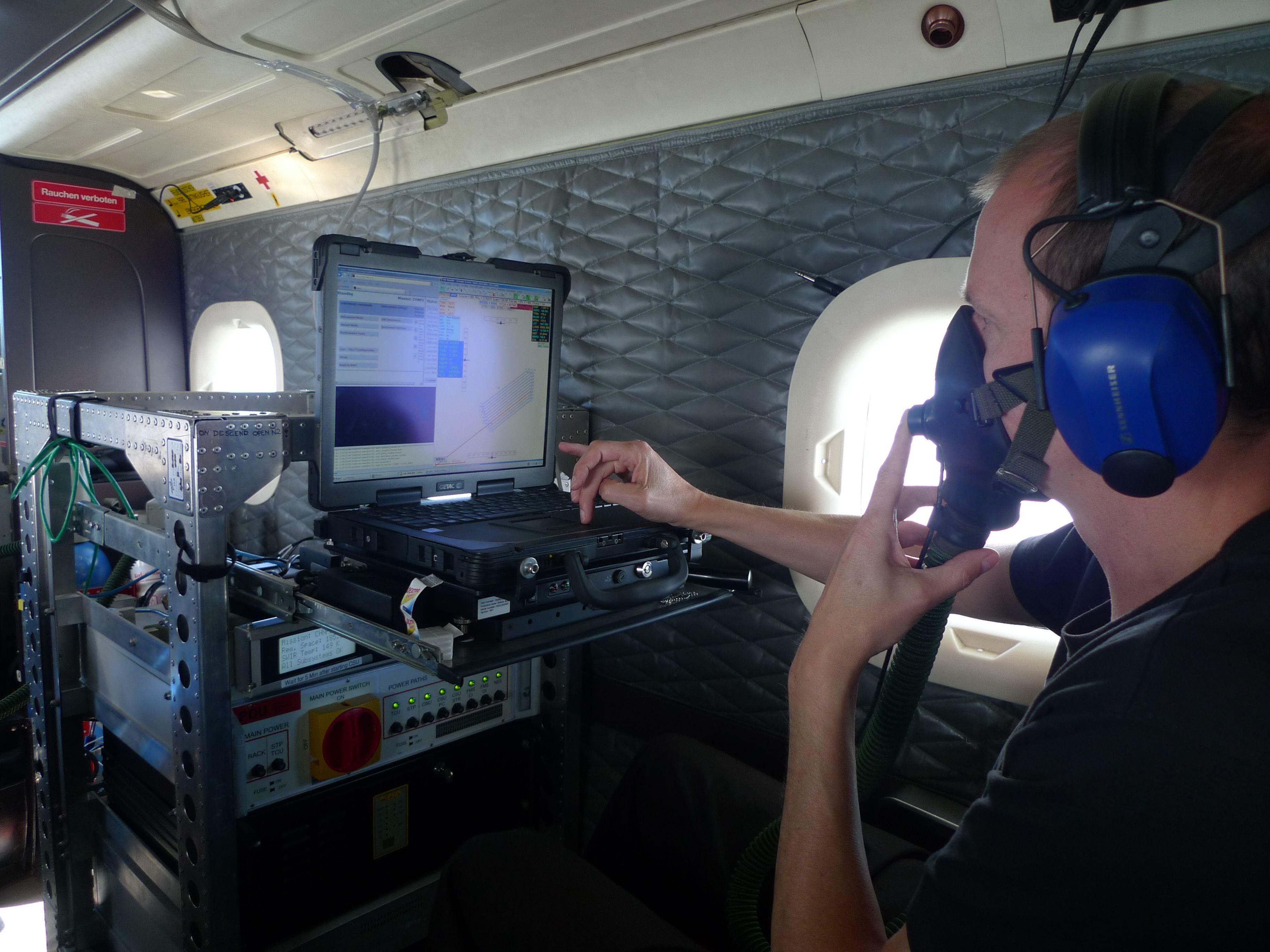 APEX flight operator with oxygen mask